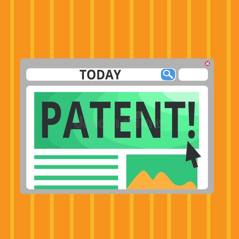 显示专利的概念性手文字 企业照片赋予权力为使用卖做产品的文本执照 库存例证