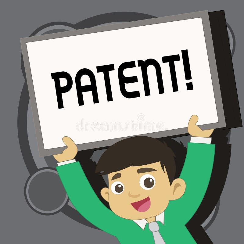 显示专利的文字笔记 赋予权力为使用卖做产品的企业照片陈列的执照 库存例证