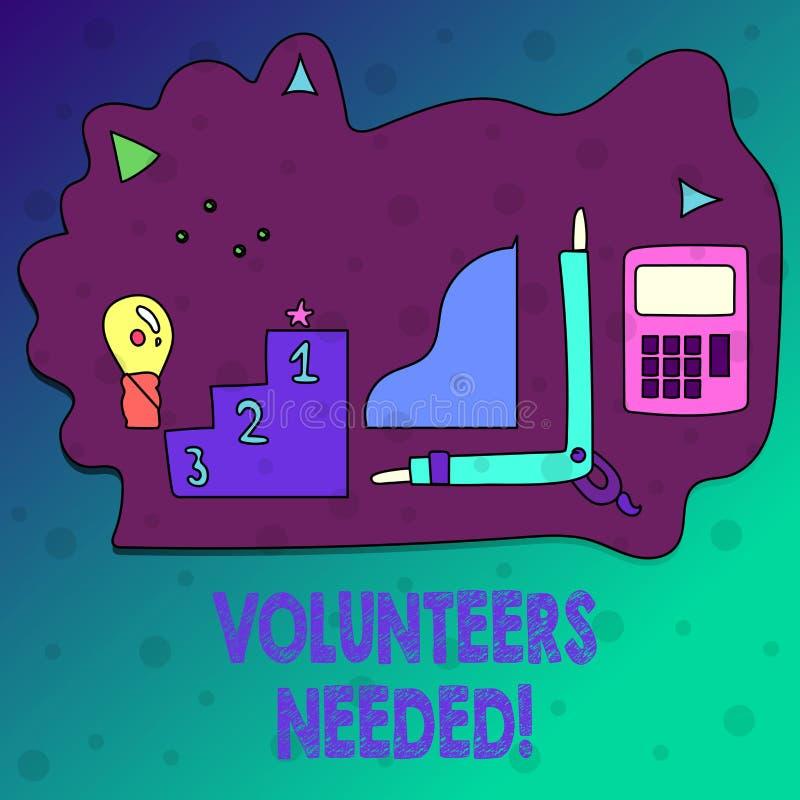 显示志愿者的概念性手文字需要 企业照片文本社会公共慈善志愿主义 皇族释放例证