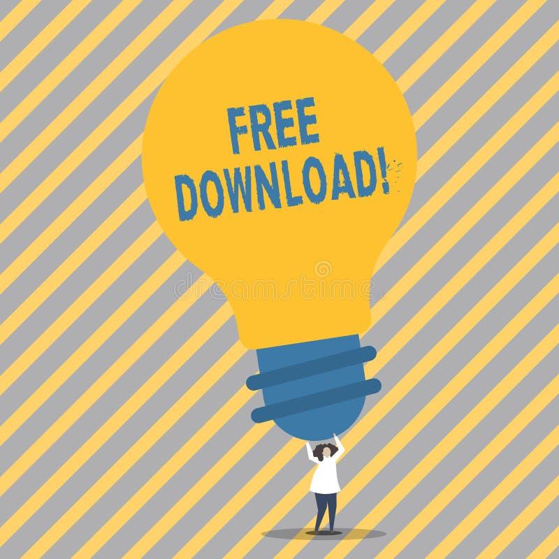 显示免费下载的概念性手文字 没有任何充电的企业照片陈列的文件下载在网上 向量例证