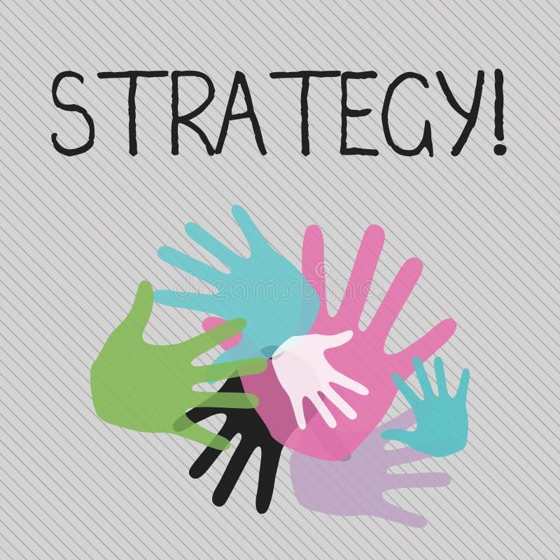 显示战略的概念性手文字 企业照片文本小组想法计划达到成功 库存例证