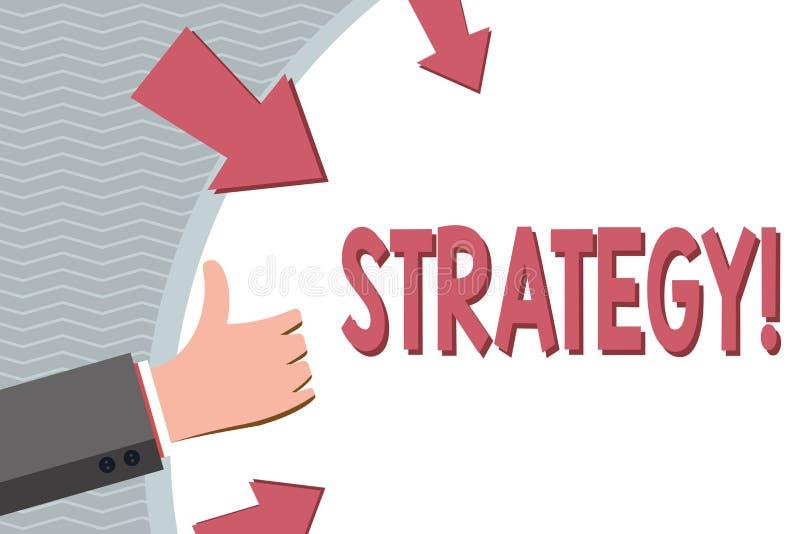 显示战略的概念性手文字 企业照片陈列的小组想法计划达到成功 向量例证