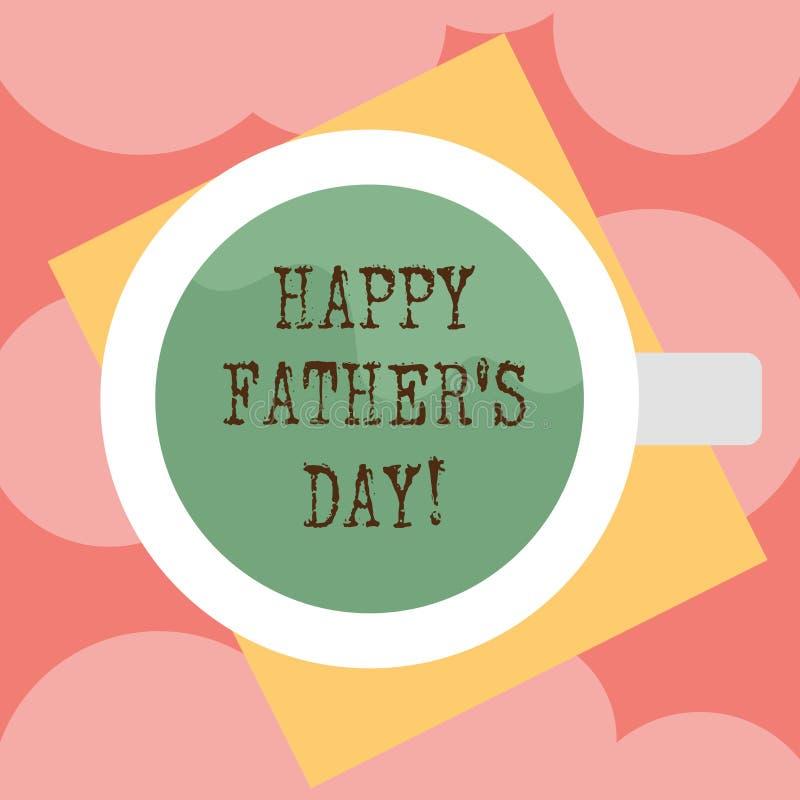显示愉快的父亲s的文字笔记是天 纪念爸爸和庆祝父权上面的企业照片陈列的庆祝 库存例证