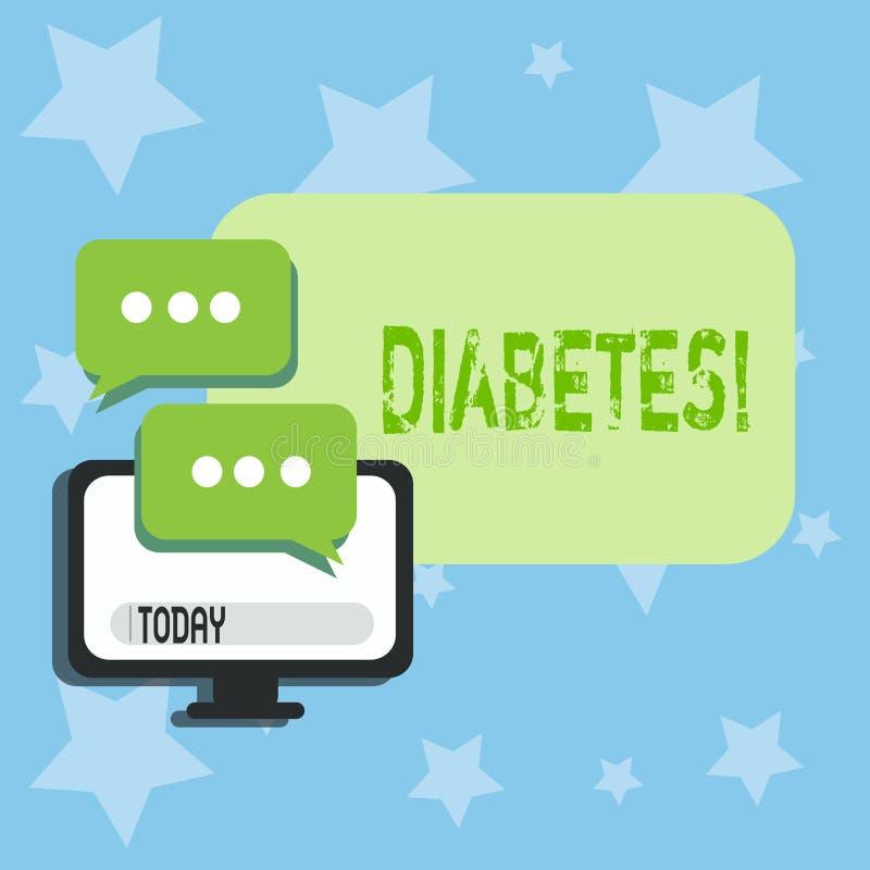 显示糖尿病的概念性手文字 企业照片文本健康状况诊断用incresed高级糖 库存例证