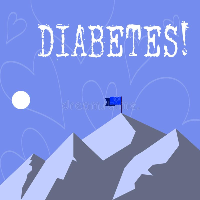 显示糖尿病的概念性手文字 陈列健康状况的企业照片诊断与incresed高水平 向量例证