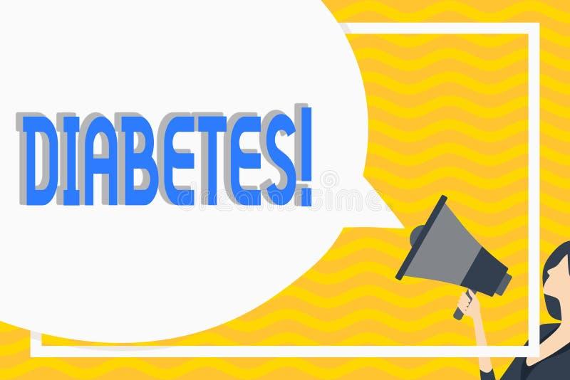 显示糖尿病的概念性手文字 陈列健康状况的企业照片诊断与incresed高水平 库存例证