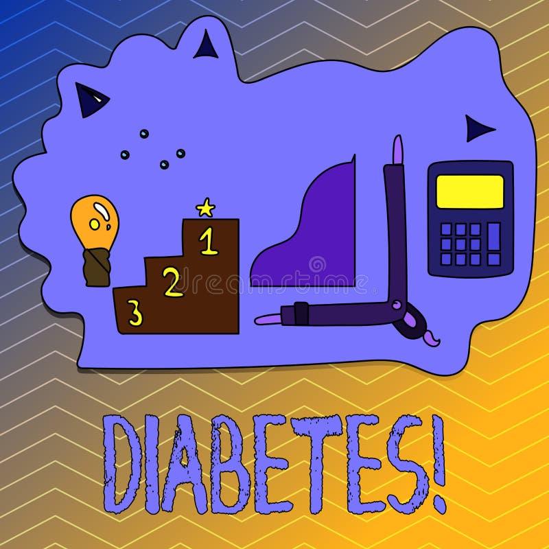 显示糖尿病的文字笔记 陈列健康状况的企业照片诊断用incresed高级糖 向量例证