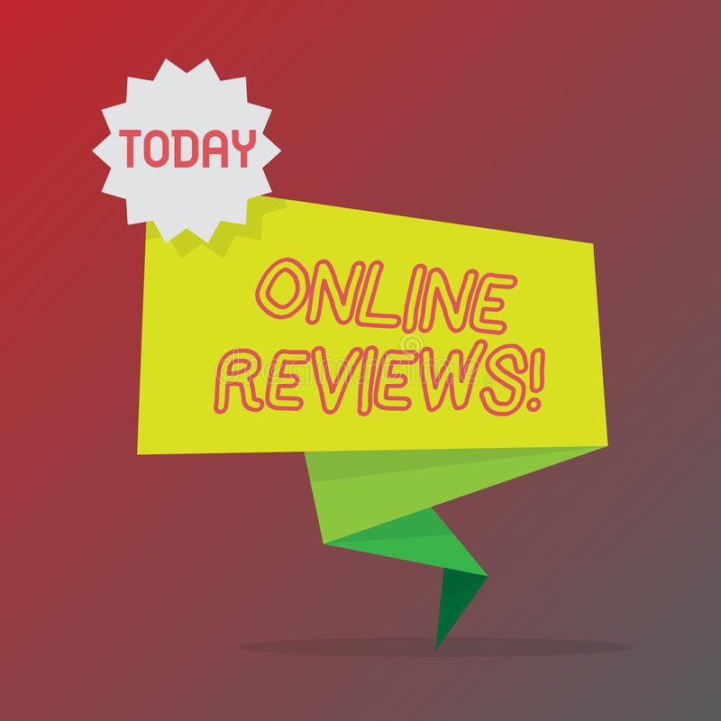 显示网上回顾的概念性手文字 企业照片文本互联网评估用户额定值观点 库存例证