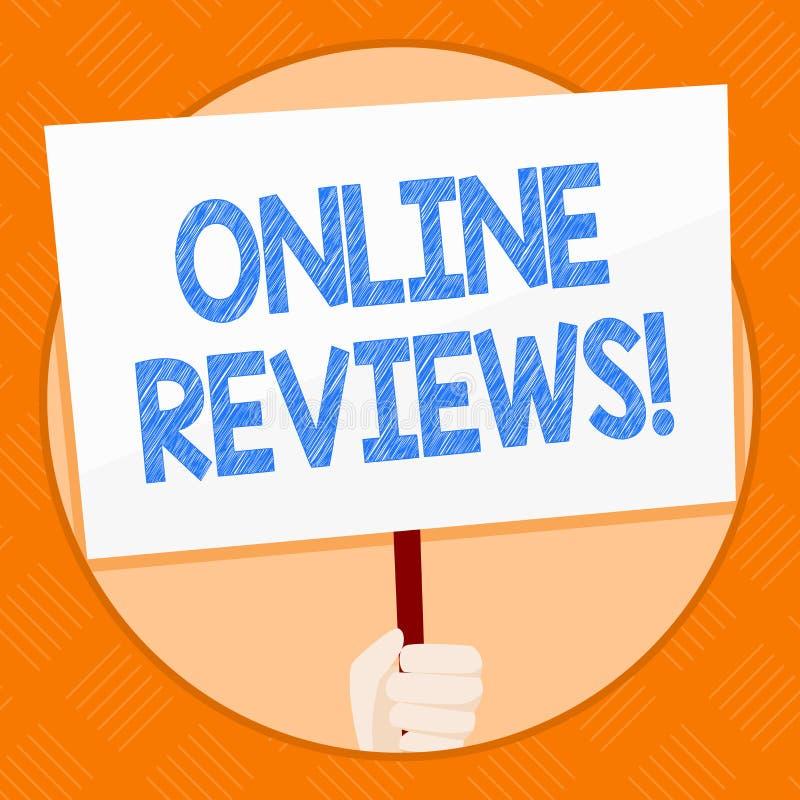 显示网上回顾的概念性手文字 企业照片陈列的互联网评估用户额定值观点 库存例证