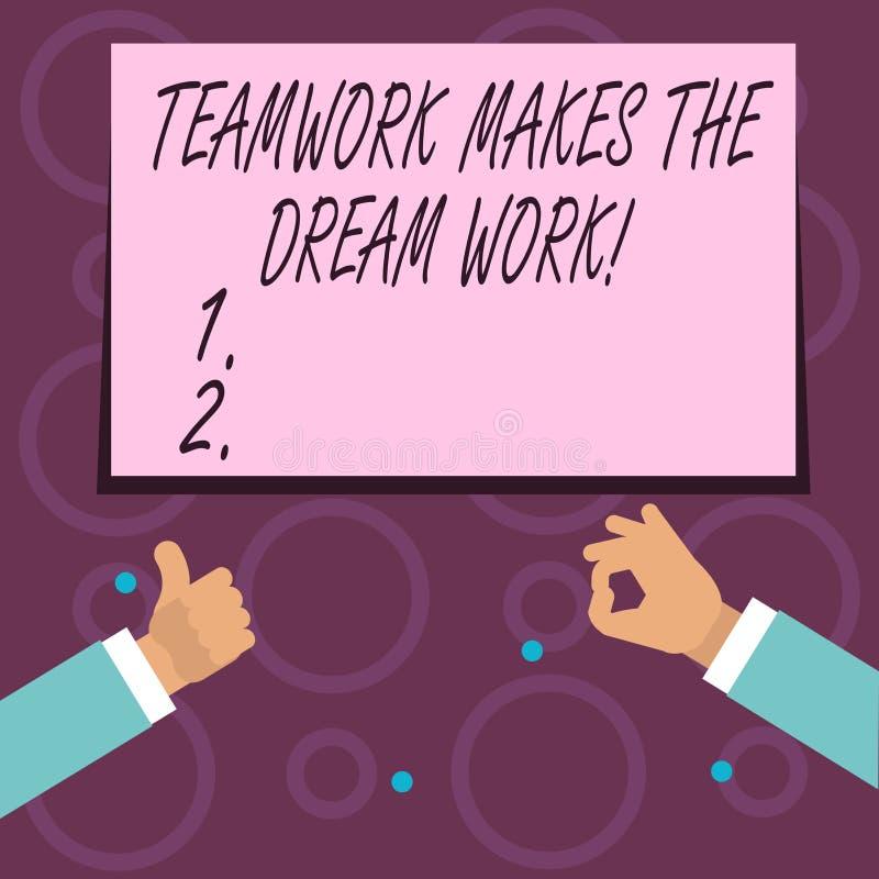 显示配合的概念性手文字做梦想工作 企业照片文本同志爱帮助达到成功 向量例证