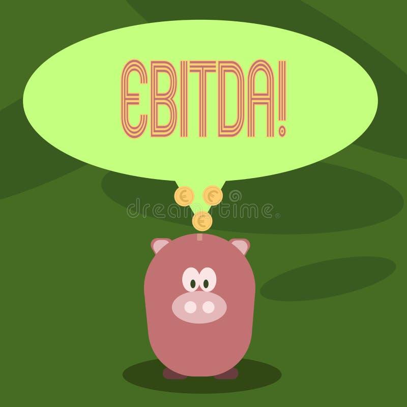 显示Ebitda的文字笔记 企业照片陈列的收入,在税被测量评估公司前 库存例证