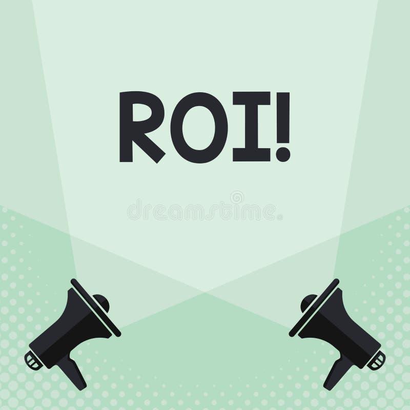 显示Roi的概念性手文字 企业照片在赢利Perforanalysisce事务的措施评估的文本回归 库存例证