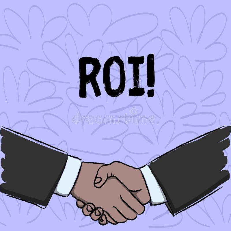 显示Roi的概念性手文字 企业照片在赢利Perforanalysisce事务的措施评估的文本回归 皇族释放例证