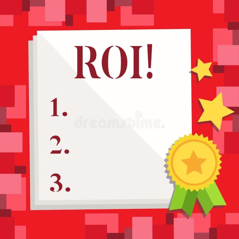 显示Roi的概念性手文字 在赢利Perforanalysisce事务的措施评估的企业照片陈列的回归 向量例证