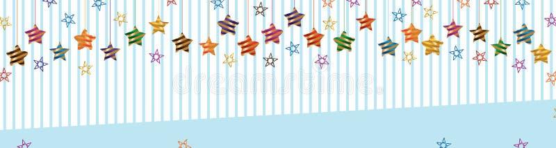星丝带条纹五颜六色的吊横幅 皇族释放例证