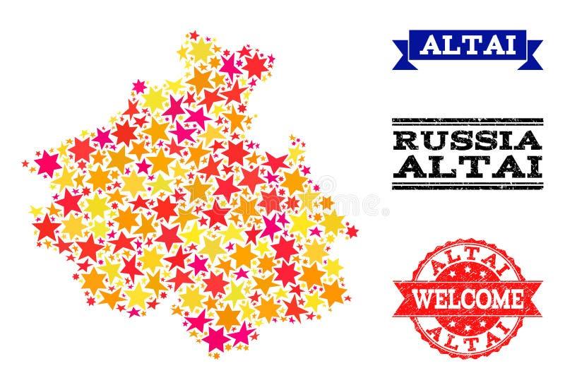 星阿尔泰共和国和橡胶水印军用镶嵌地图  库存例证