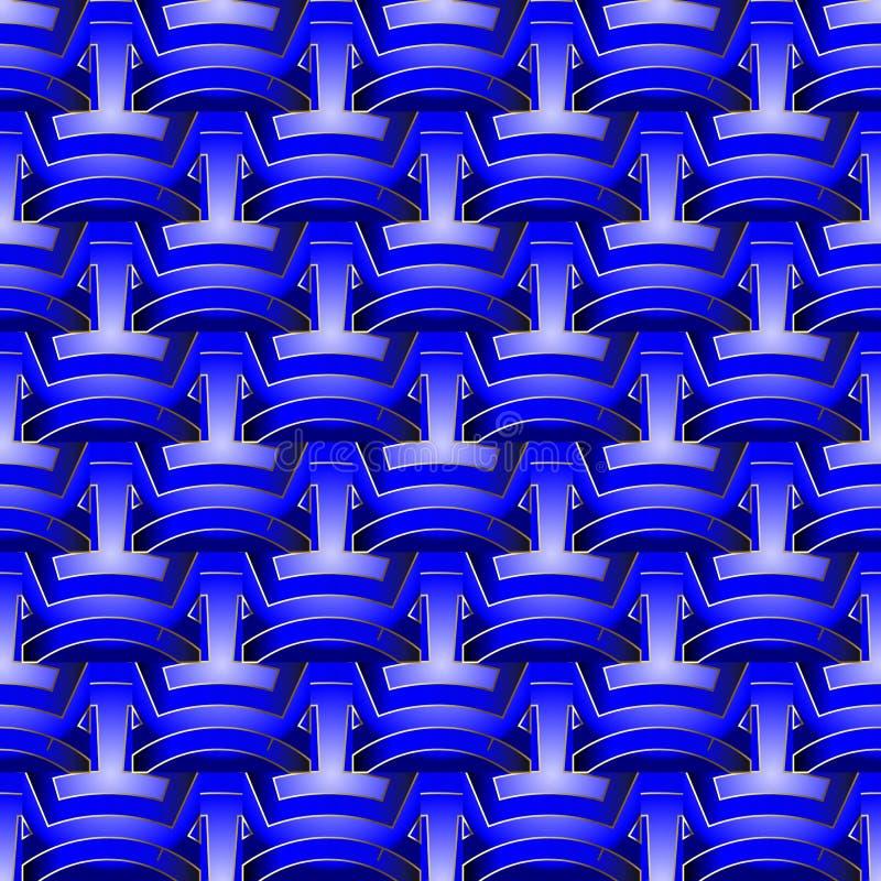 明亮的蓝色抽象几何3d传染媒介无缝的样式 表面构造了装饰背景 编辫子的几何形状, 向量例证