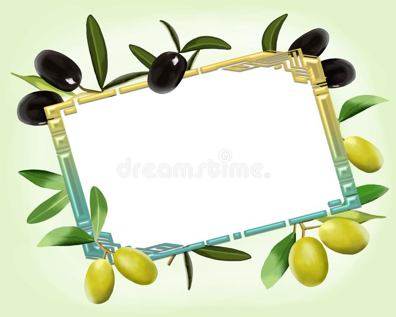 明信片例证用黑和绿橄榄 皇族释放例证