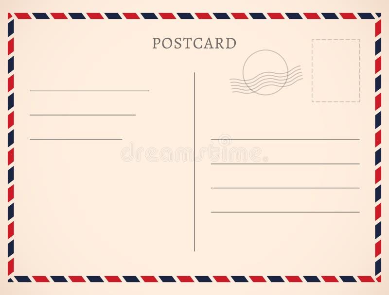 明信片模板纸白色纹理 导航明信片空的邮票和消息设计 向量例证