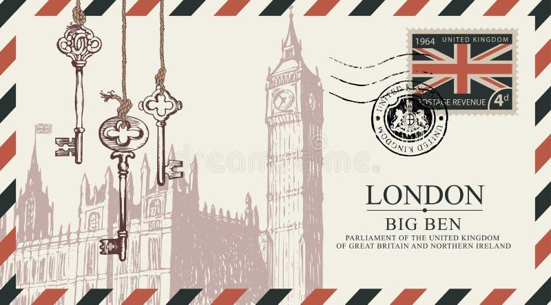 明信片或信封与大本钟在伦敦 向量例证