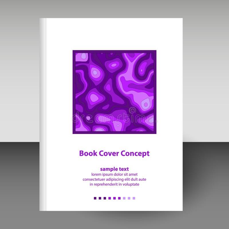 日志或笔记本格式A4布局小册子概念-紫色紫罗兰传染媒介盖子上色与纸裁减3D作用 皇族释放例证