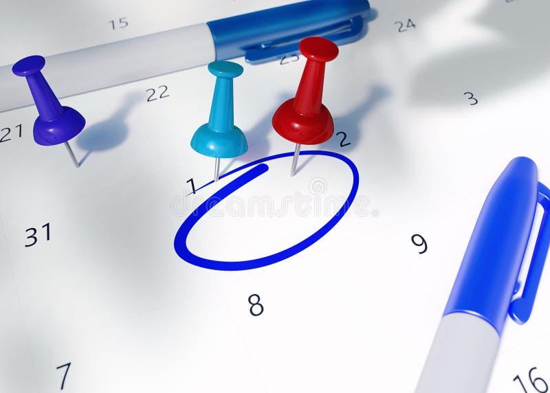 日历的概念图象与红色、小野鸭、蓝色提醒的别针和空的cirlced空间的为重要任命 向量例证