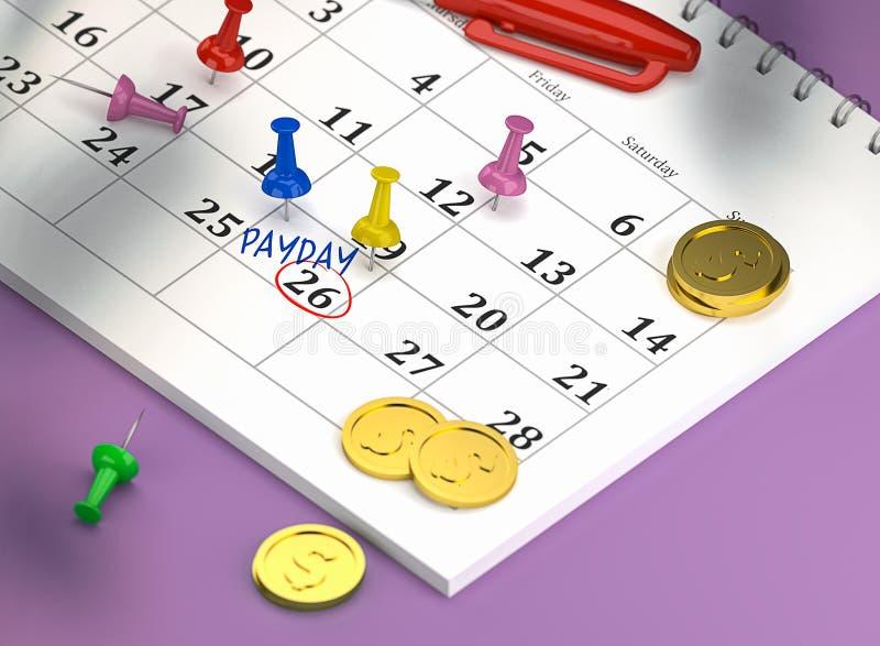日历2019年4月26日与五颜六色的别针和硬币和盘旋的空间与词发薪日 皇族释放例证