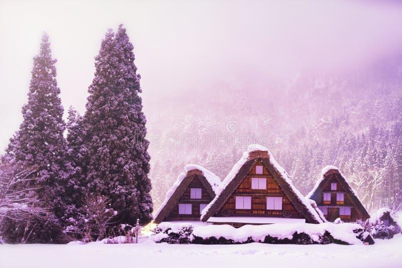 日本的风景 Shirakawago在冬天,白川町历史的村庄是位于小野区的村庄,岐阜县 免版税库存图片