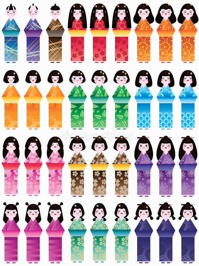 日本玩偶高集合 向量例证