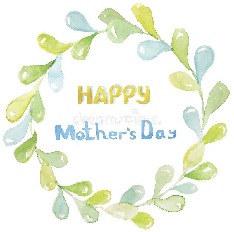日愉快的母亲s 题字是黄色和蓝色的在圆的叶子一个浅绿色的框架  皇族释放例证