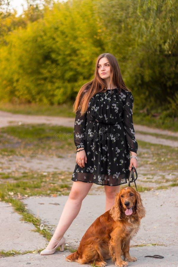 日落的愉快的俏丽的女孩 一个华美的夫人的美术照片有狗的在一个神奇森林里 免版税图库摄影