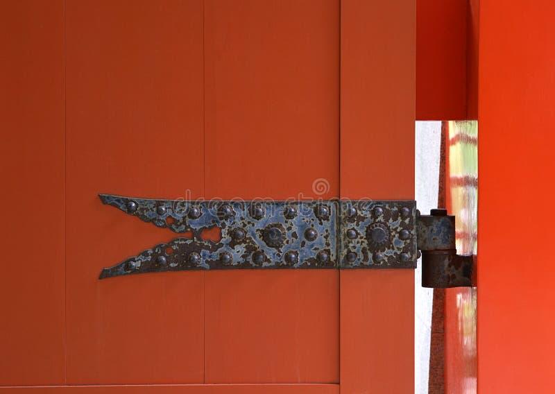 日语生锈的金属门细木工技术细节有螺丝背景 图库摄影