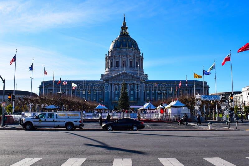 旧金山政府大厦在冬天 免版税库存图片
