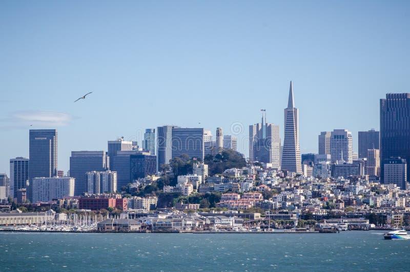 旧金山都市风景视图,如被看见从海湾的水 库存照片
