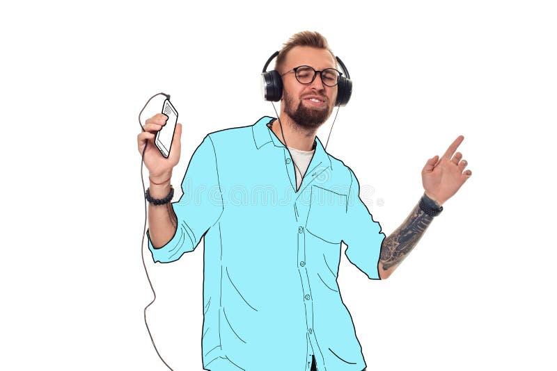 时髦和时兴的人戴着眼镜和一件蓝色衬衣 疯狂的超现实的艺术拼贴画 免版税库存照片