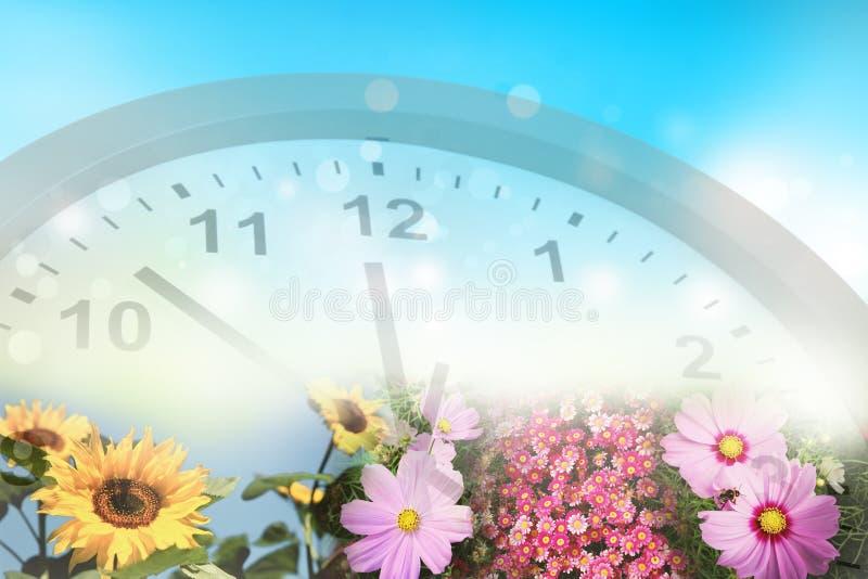 时钟和春天花 皇族释放例证