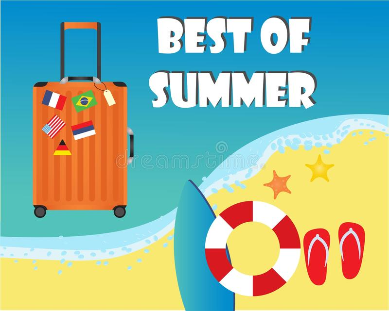 旅行和国旗贴纸的橙色手提箱 向量例证