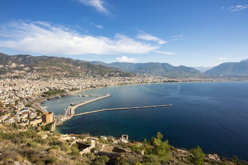 旅行概念照片 土耳其/城堡视图安塔利亚/阿拉尼亚  免版税库存照片