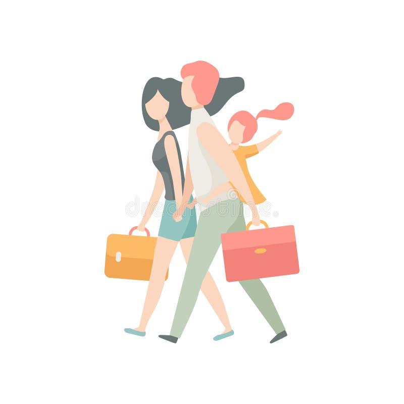 旅行的家庭一起,走带着手提箱的父亲、母亲和女儿导航例证 向量例证