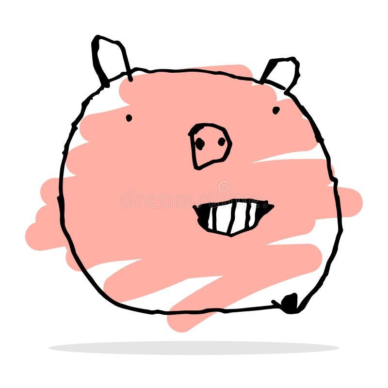 无权愉快的猪传染媒介图画  免版税库存图片