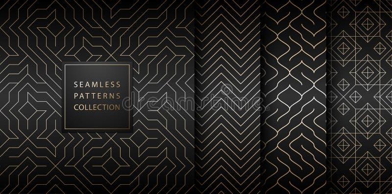 无缝的几何金黄minimalistic样式的汇集 简单的向量图形黑色印刷品背景 重复线 库存例证