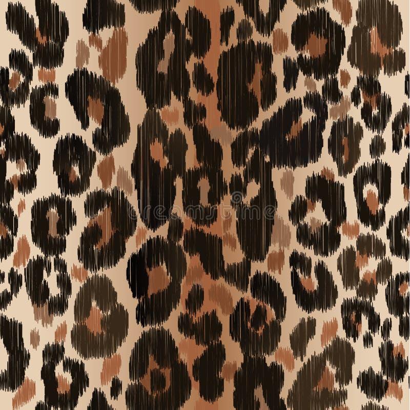 无缝的豹子狂放的自然刺绣样式 传染媒介动物印刷品 向量例证