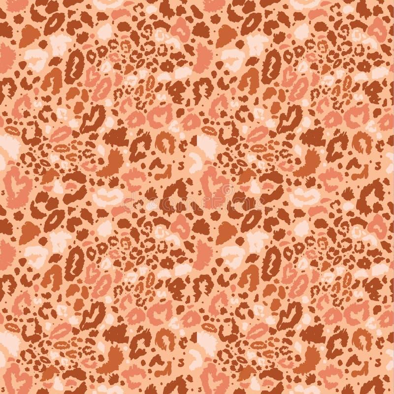 无缝的豹子狂放的自然样式 传染媒介动物印刷品 库存例证