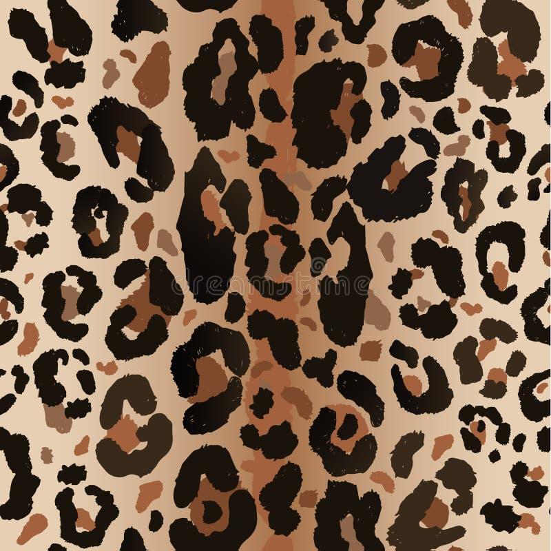 无缝的豹子狂放的自然样式 传染媒介动物印刷品 向量例证