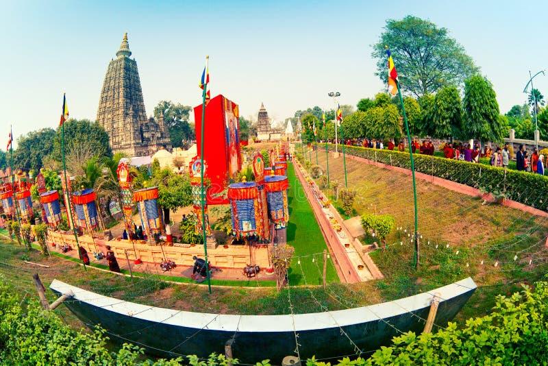 摩诃菩提寺在Bodhgaya 库存照片
