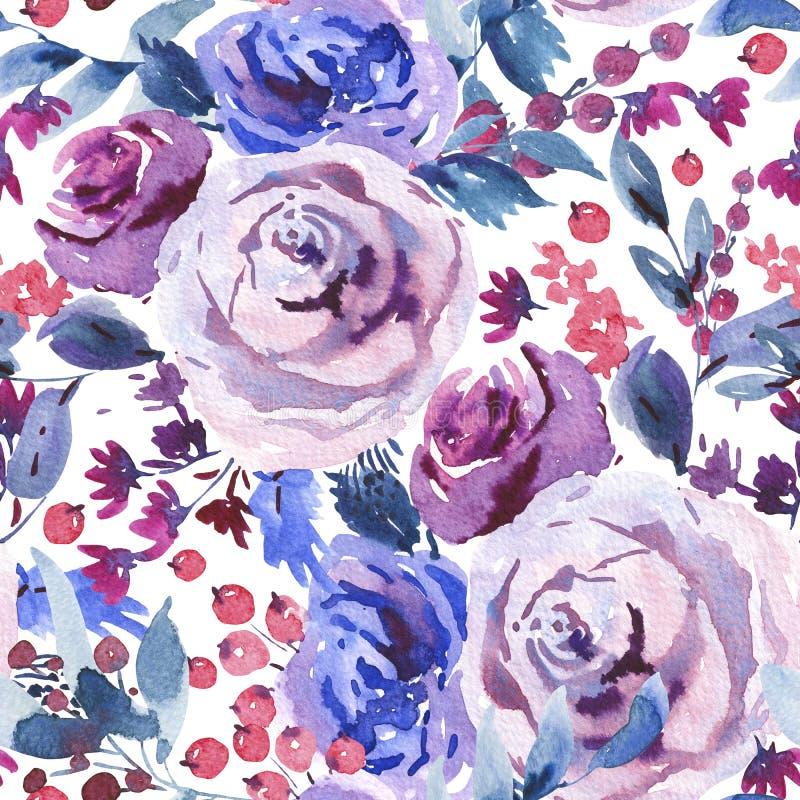 摘要水彩花卉无缝的样式,紫罗兰色水彩玫瑰,花,枝杈,叶子,莓果,芽 库存例证