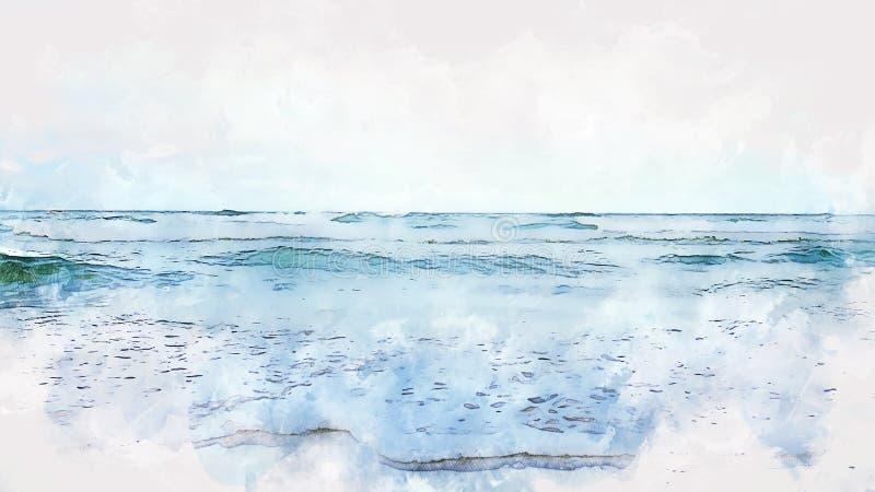 摘要海软的波浪在水彩例证绘画的海洋 皇族释放例证