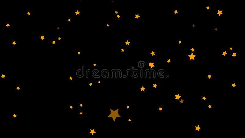 摘要,落在黑背景的金黄五针对性,绿色,五颜六色的星的动画 小,橙色星 库存例证