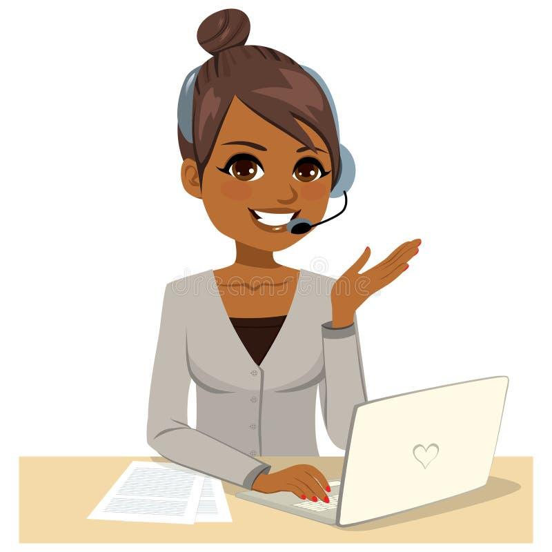 操作员在膝上型计算机的妇女工作 向量例证