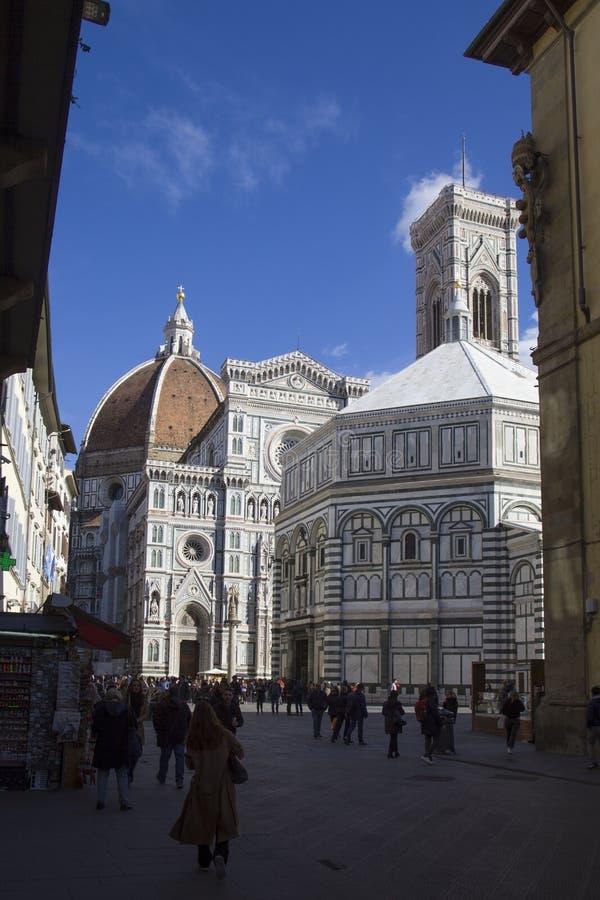 意大利、托斯卡纳,佛罗伦萨大教堂和洗礼池 免版税库存照片